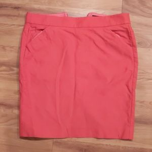 J. Crew Factory coral pink cotton pencil skirt